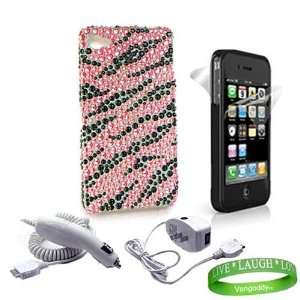 Hot Pink Zebra Rhinestone Design Hard Snap On Crystal Case + Custom