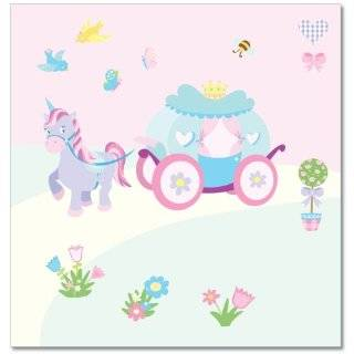FunToSee Princess Childrens Wall Decals, Carriage And Unicorn Scene