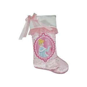 Disney Princess Cinderella Satin & Ruffle Pink 20 Christmas Stocking