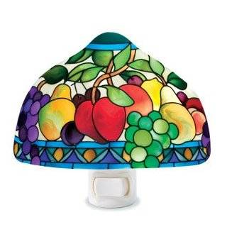 Stained Glass Grapes Night Light with Light Sensor Base
