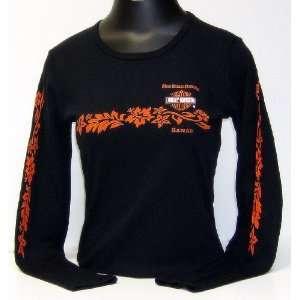 Maui Harley Davidson Ladies Pareau Band Black Long Sleeve