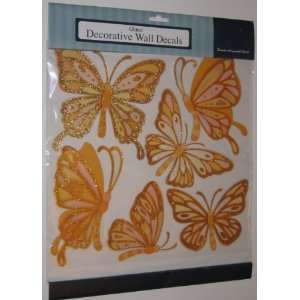 Gold Butterflies Glitter Decorative Wall Decals