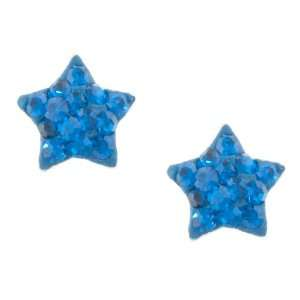Sterling Silver Blue Crystal Star Shaped Button Earrings Jewelry