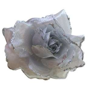 Silver Color Rose Hair Piece   Flower Hair Accessory