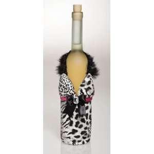 White & Black Animal Print Dress Wine Bag w/ Maribou