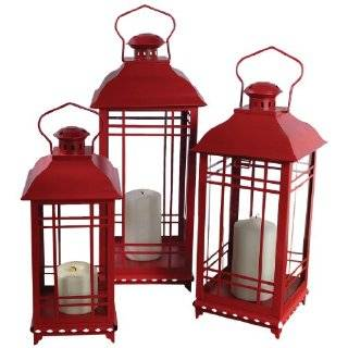 Melrose International Iron and Glass Dome Lantern, Red