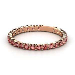 Rich & Thin Band, 14K Rose Gold Ring with Red Garnet Jewelry