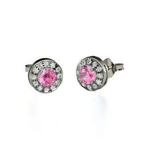 Halo Earrings, Round Pink Sapphire 18K White Gold Stud Earrings with