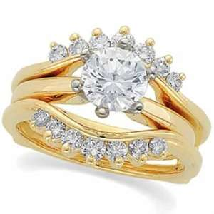 Yellow Gold. Diamond Ring Guard Enhancer (Center ring is NOT INCLUDED