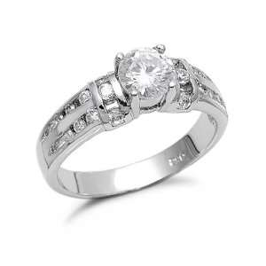 Sterling Silver Cubic Zirconia Engagement Ring, 10 Jewelry