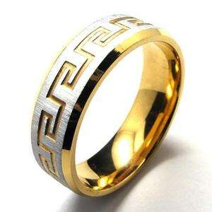 Mens Silver & Gold Tone Stainless Steel Ring Size 10