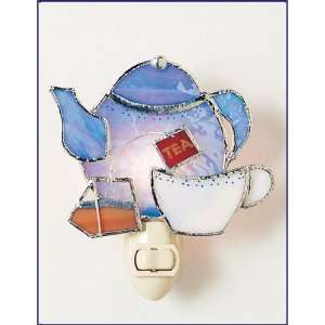 Tea Time Stained Glass Decorative Night Light Home Improvement