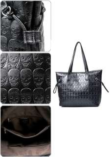 Black Fashion Skull Lady Clutch Handbag Women Bag PU Leather Tote Hobo