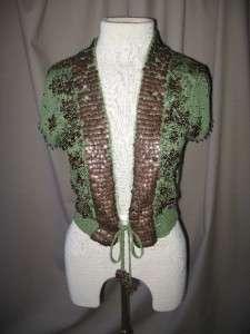 ROZAE NICHOLS Green Cap Sleeve Cardigan w/beading Sz M
