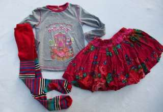 House Tee Shirt Floral Skirt Striped Tights set Girls 110 5 years EUC