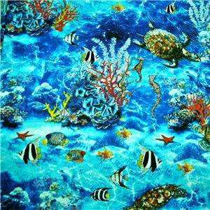 FabriQuilt Cotton Fabric Ocean Scene Turtles Seahorses