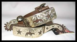 Kelly Brown Iron Silver Pleasure Horse Star Spurs (Mens/Womens)