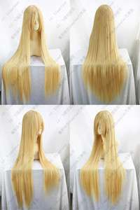 COS WIGS Long Cosplay Warm Blonde Straight Wig 100CM +wig cap