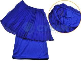 Women Sexy Single Off Shoulder Pleated Chiffon Dress
