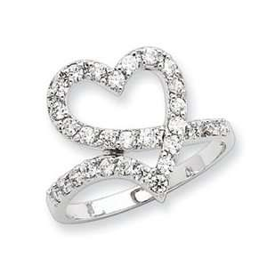 Sterling Silver CZ Open Heart Ring Size 8 Jewelry