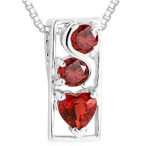 Round & Heart Cut Garnet Three Stone Pendant Necklace Sterling Silver