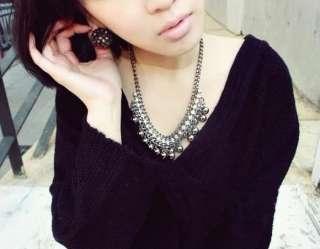 Korea Fashion Grey Crystal Rhinestone Drip Ball Choker Charming