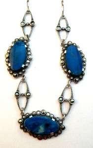Antique Jugendstil Art Deco Sterling Silver Marcasite & Sodalite