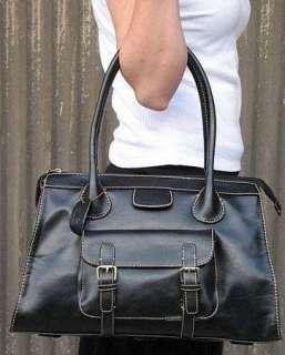 Black European Faux Leather Handbag Purse New Edith Bag