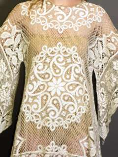 SHEER CREAM CROCHET LACE ANGEL SLEEVES HIPPIE BOHO MINI DRESS