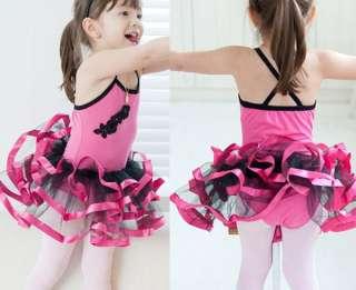 Black Pink Ballet Dance Costume Tutu Girls Dress 3 8Y