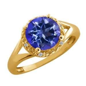 Ct Round Tanzanite Blue Mystic Topaz and Diamond 18k Yellow Gold Ring
