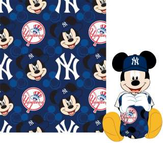 Disney MLB Yankees Mickey Mouse Shaped Pillow with Fleece Throw