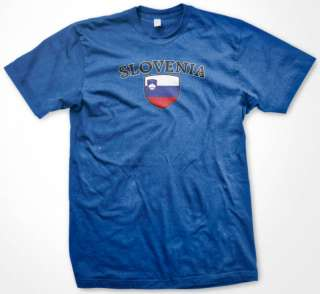 SLOVENIA Soccer T shirt Crest Flag Football Mens Tee