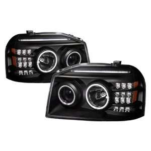 01 04 Nissan Frontier Black CCFL LED Halo Projector Headlights /w