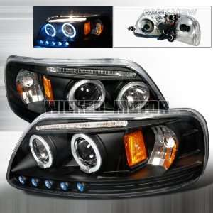 03 Ford F150 LED Halo Projector Headlights   Black Clear Automotive