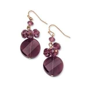Rose tone Dark Red Crystal Round Drop Earrings Jewelry