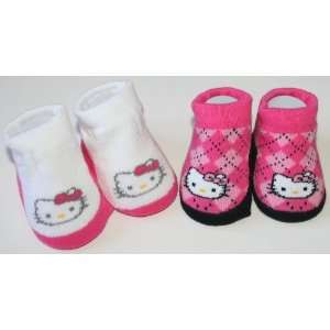 Hello Kitty Baby Socks/Booties Pink White/Pink Plaid Size