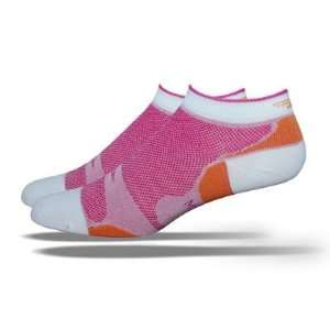 DeFeet Womens Levitator Lite Lo Pink/Pumpkin Cycling/Running Socks