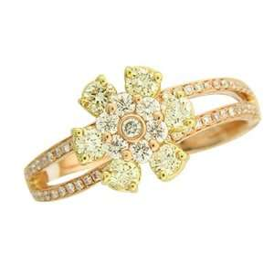 .83Ct TDW Pink Rose Gold Flower Diamond Ring Jewelry