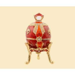 Jeweled Box (Red) Enameled pewter box bejeweled with Austrian crystals