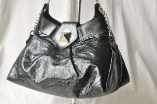 SONIA RYKIEL Black Crackle Bag Handbag Purse LG Pyramid