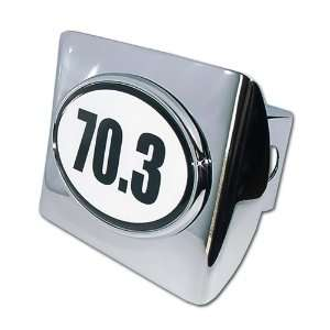 Half IronMan 70.3 Premium Chrome Metal Trailer Hitch Cover with