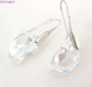18k plated clear drop square crystal dangle earrings