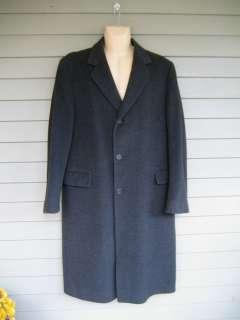Lovely Mens Charcoal Gray 50% Cashmere 30% Wool Winter Over Coat 42 L