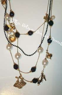 Betsey Johnson Black Beads Gold Bow Pearl Shoe Necklace