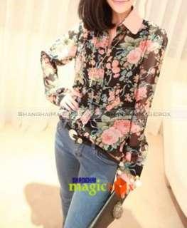Women Fashion Vintage Sweet Rose Flower Chiffon Blouse Shirt Top New