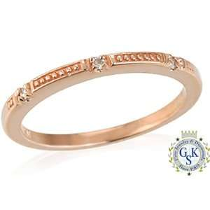 New Unique Natural Diamond 14K Rose Solid Gold Ring Jewelry
