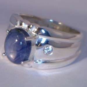 Mens Blue Star and White Sapphire Handmade Sterling Silver Gents Ring