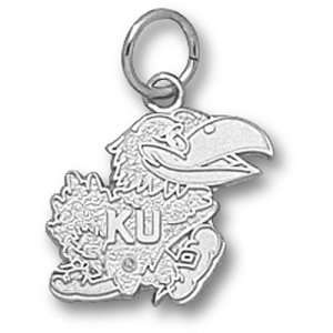 University of Kansas Jayhawk 1/2 Pendant (Silver)  Sports
