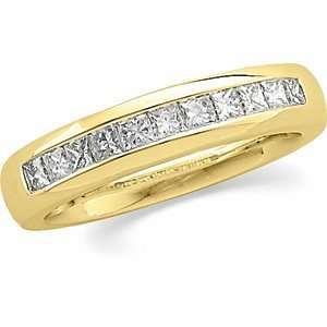 Yellow Gold Mens Princess Cut Diamond Band Ring Size 10.0 Jewelry